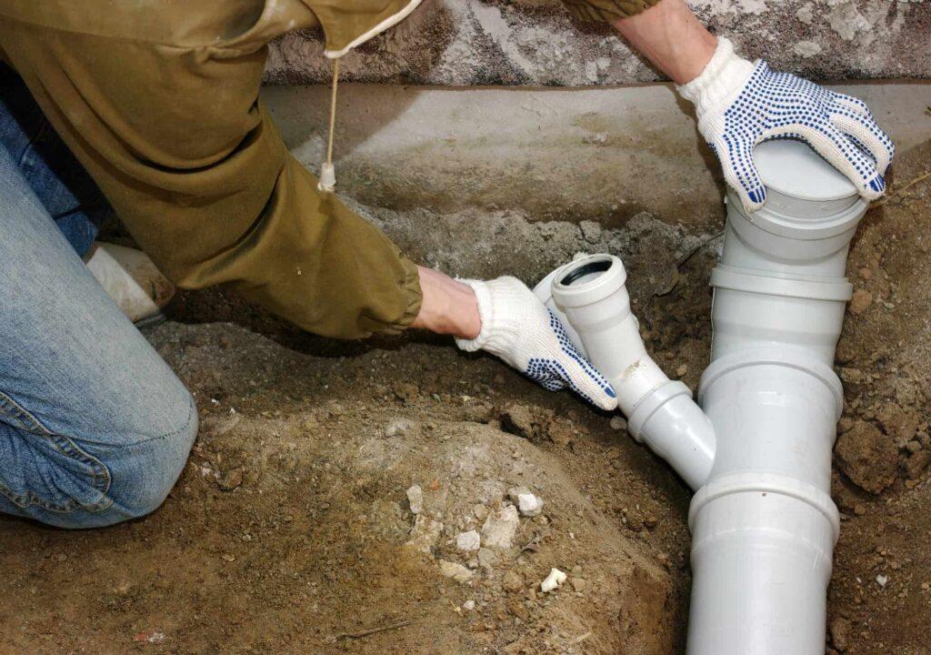Plumber sewage pipes